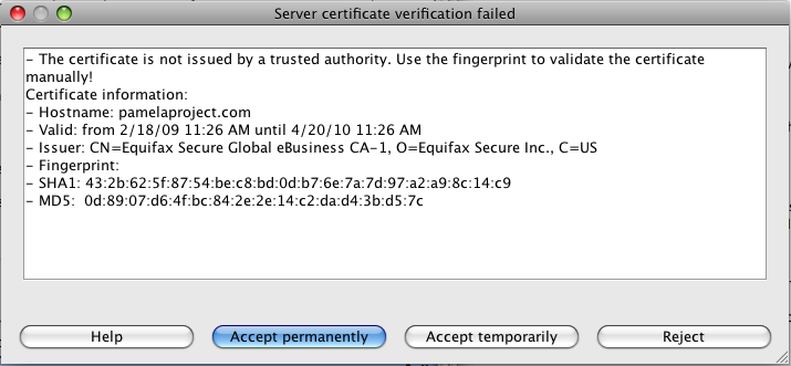 Svn error validating server certificate