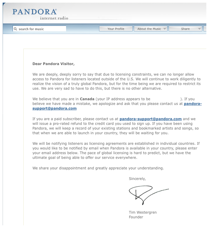 Pandora ONE: Canadian FAIL